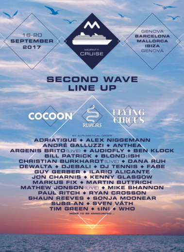 Second wave of acts announced for MDRNTY Cruise inc. Guy Gerber, Ben Klock, DJ Tennis, Djebali, Dewalta, Mike Shannon, Martin Buttrich, Bill Patrick and more